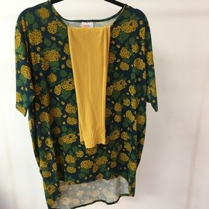 LuLaRoe Outfit One Size Leggings & Small Irma New